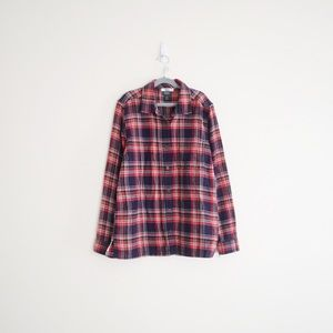 Roots Plaid Button Down Flannel Shirt